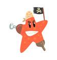 funny cartoon starfish pirate holding black flag vector image vector image