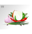 garlic pepper and onion vegetables with parsley vector image