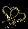 gold pieces foil fly in shape two hearts vector image
