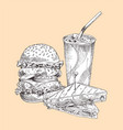 hamburger and sandwich set vector image vector image