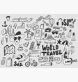 hand draw doodle travel symbols tourism and vector image