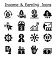 investment income earning icon set vector image vector image