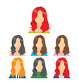 long haired girl avatar collection vector image vector image