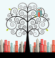 Owl on Curled Tree with City on Background Flat vector image vector image