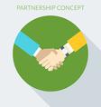 Partnership concept Handshake in flat desig vector image