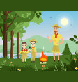 people forest camping hiking young man cute boy vector image