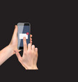 realistic hand holding mobile phone with email vector image