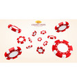 red 3d casino chips or flying realistic tokens vector image