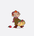 red hair child with large basket of apples vector image