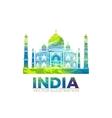 Retro World Wonder of Taj Mahal Palace in India vector image