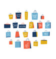 set 21 shopping paper bags on white background vector image