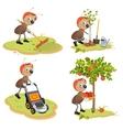 Set Ant Gardener vector image vector image