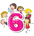 Six kids vector image vector image