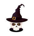 skull halloween with witch hat vector image vector image