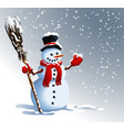 snowman winter background vector image vector image
