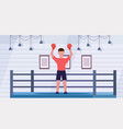 sportsman in red gloves raised hands professional vector image