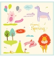 Summer or spring with funny animals vector image