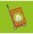 trolley shop juicy pear fruit vector image vector image