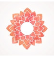 Watercolor red frame with lotus flower pattern vector image