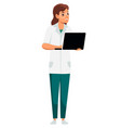 woman doctor with laptop stand isolated on white vector image vector image