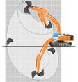 working range of an excavator vector image vector image