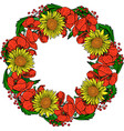wreath of red blossoming poppies yellow vector image