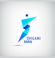 abstract origami man logo leader winner vector image vector image