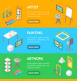 artist workplace interior with furniture banner vector image vector image