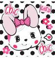 beautiful rabbit girl wearing pink bow headband vector image vector image