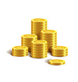 bitcoin golden coins pile stacks internet virtual vector image