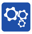 blue white information sign - three cogwheel icon vector image vector image
