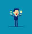 business man holding hourglass and money concept vector image