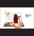 business woman holding child working at home vector image