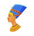bust nefertiti symbol egypt flat style vector image