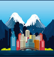 canadian landscape scene and cityscape vector image vector image