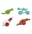 cannon icon set color outline style vector image vector image