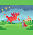 cartoon fairytale knight fights dragon swordsman vector image