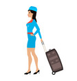 cartoon stewardess girl with a suitcase vector image vector image