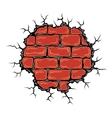 Cracked birck wall vector image