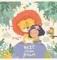 cute cartoon girl hugging lion best friends vector image