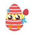 cute little chick with shell egg broken and rose vector image