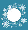 doodle snow round frame vector image