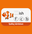 find missing letter with fish vector image vector image