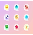 flat icons collection on the human brain vector image