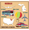Flat map of Michigan vector image vector image