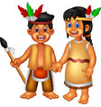 funny boy and girl wearing ethnic clothes cartoon vector image