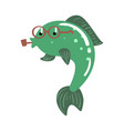 Funny cartoon green fish in glasses smoking pipe vector image