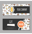 Gift vouchers with autumn vector image