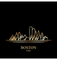 Gold silhouette of Boston on black background vector image vector image