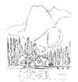 graphic sketch winter forest landscape vector image vector image